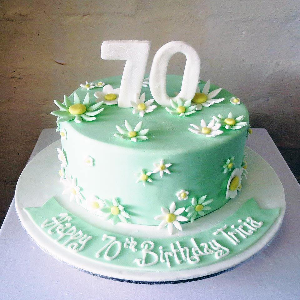 Floral 70th Birthday Cake