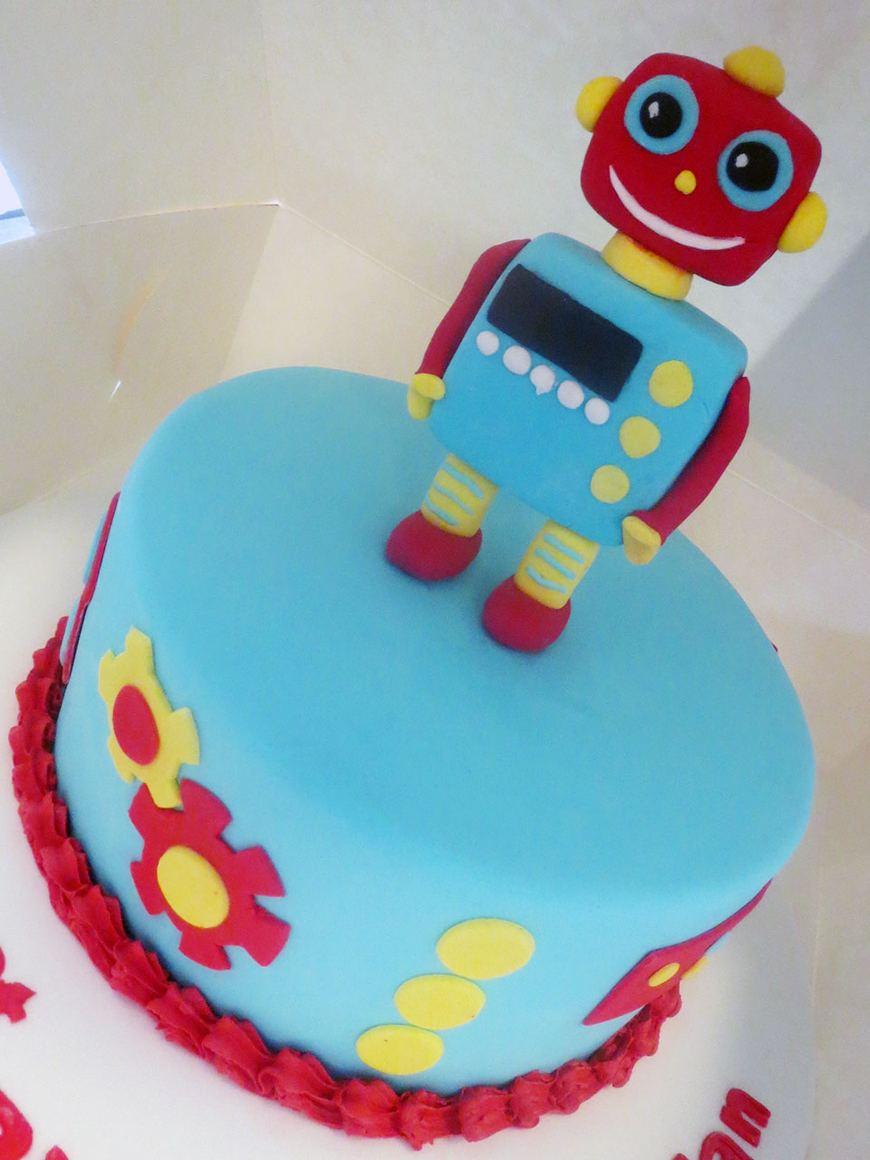 Robot Birthday Cake Three Sweeties
