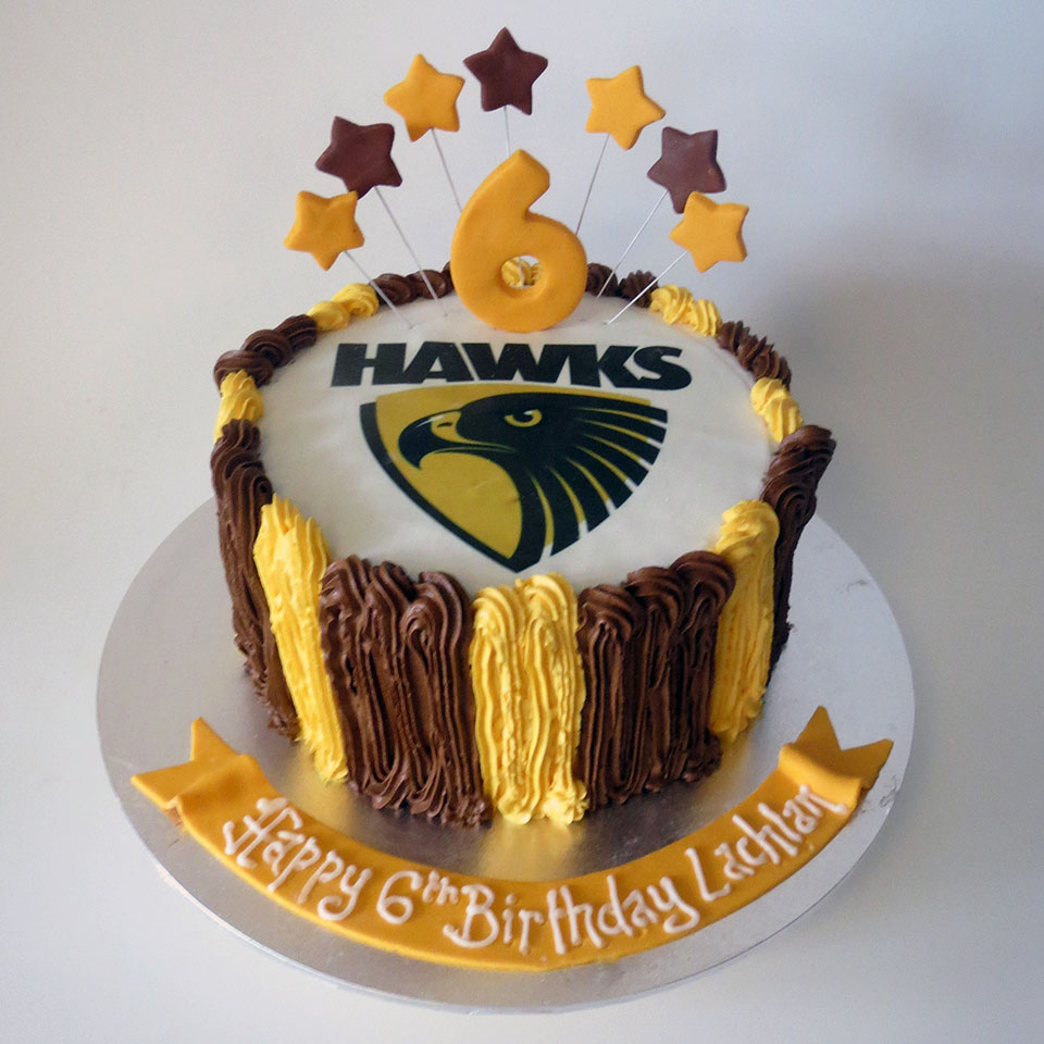 Hawks Footy Fan Birthday Cake Three Sweeties