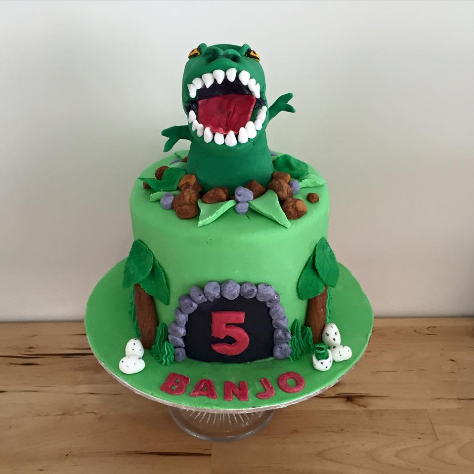 TRex Dinosaur Cake Three Sweeties