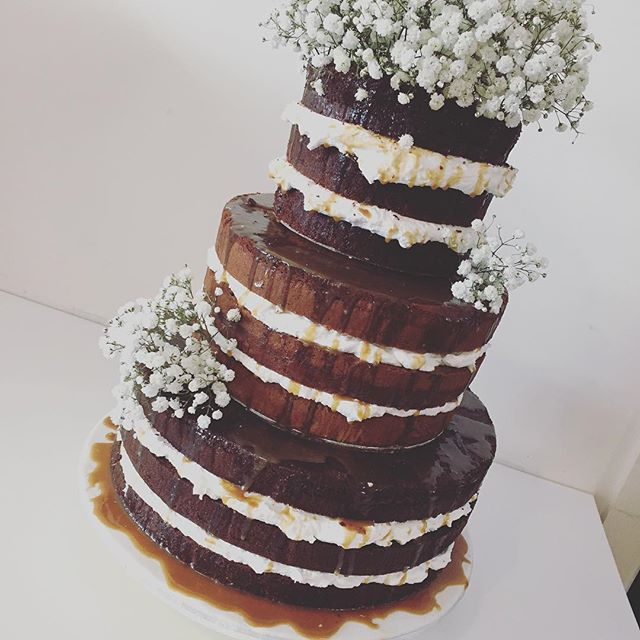 Naked Chocolate And Caramel Wedding Cake Three Sweeties