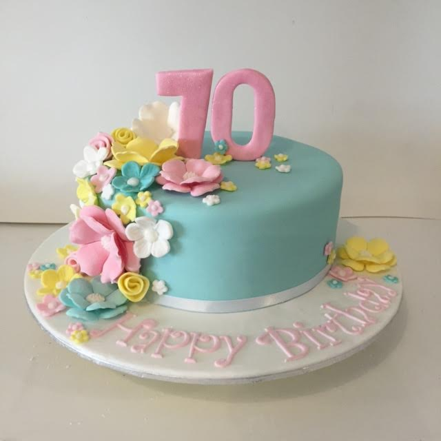 Floral 70th birthday cake Three Sweeties