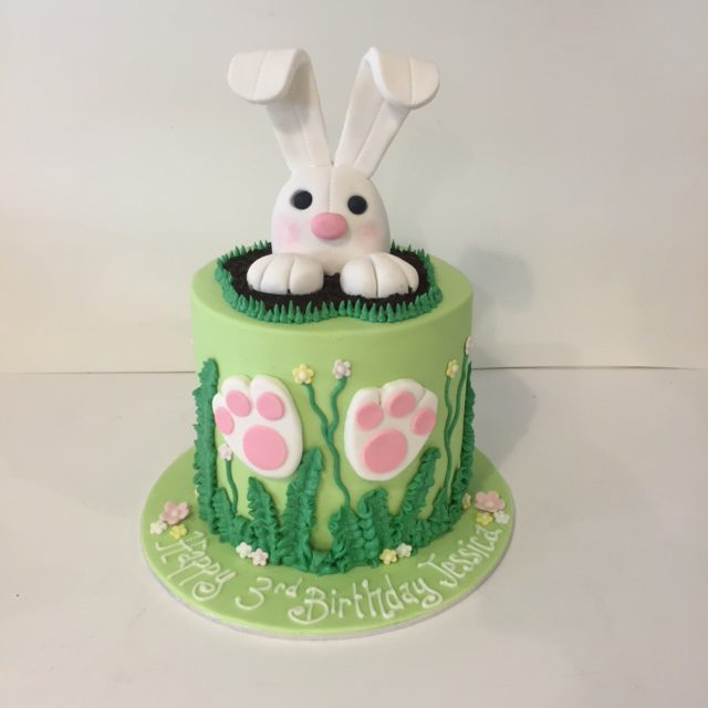 Bunny Rabbit birthday cake and cupcakes Three Sweeties