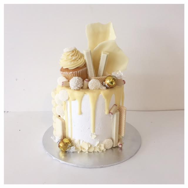 White Chocolate Dripping Semi Naked Wedding Cake