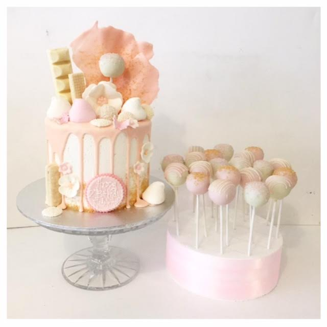 Pretty Pastel Drizzle Cake And Matching Pops