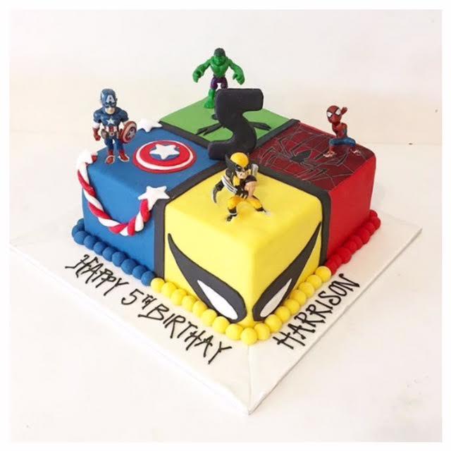 Astonishing Super Hero Cake Three Sweeties Personalised Birthday Cards Veneteletsinfo