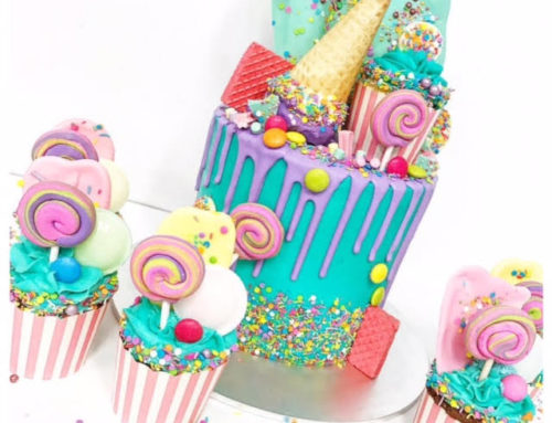Bright lolly drizzle cake & cupcakes