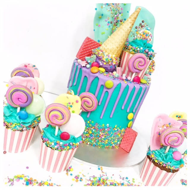 Bright lolly drizzle cake & cupcakes - Three Sweeties