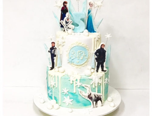 Frozen themed edible image cake