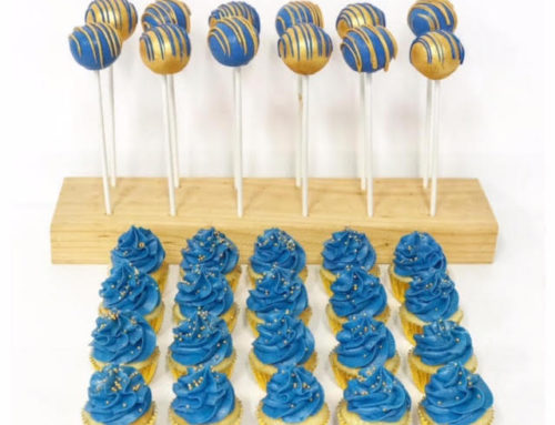 Blue & Gold cake pops and mini cupcakes