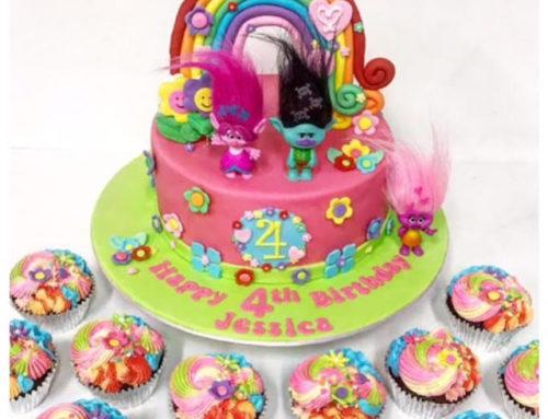 Trolls birthday cake & matching cupcakes
