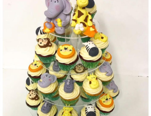 Jungle baby shower cupcake tower