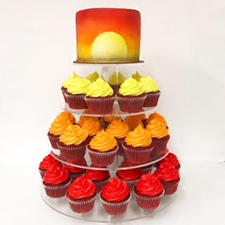 Sunset cupcake tower