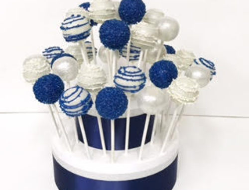 Blue & silver cake pop tower