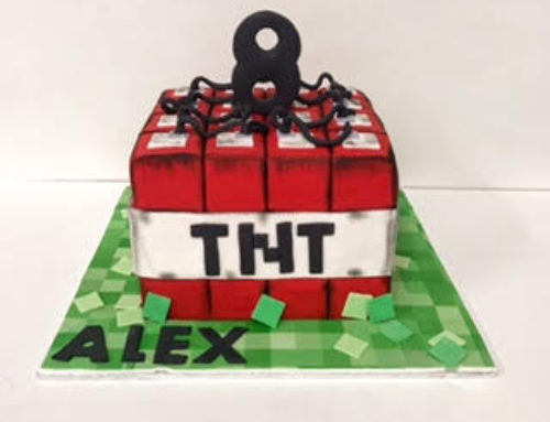 Minecraft TNT birthday cake