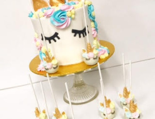Unicorn cake and matching cake pops